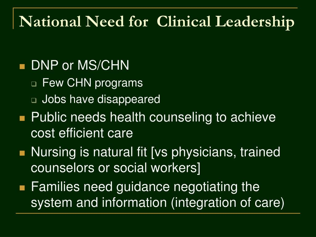 National Need for  Clinical Leadership
