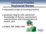 advanced practice registered nurses