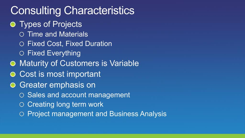 Consulting Characteristics