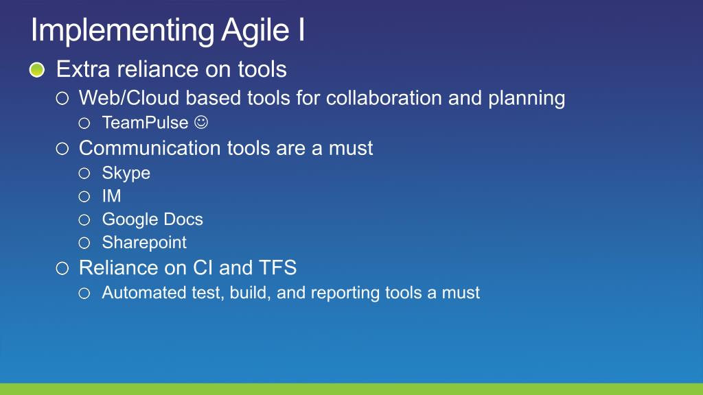 Implementing Agile I