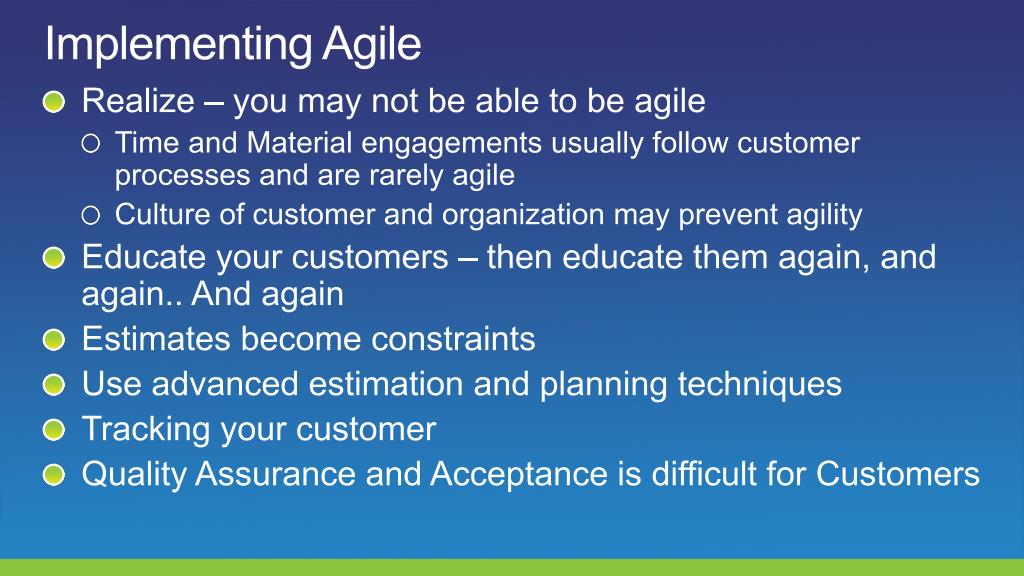 Implementing Agile