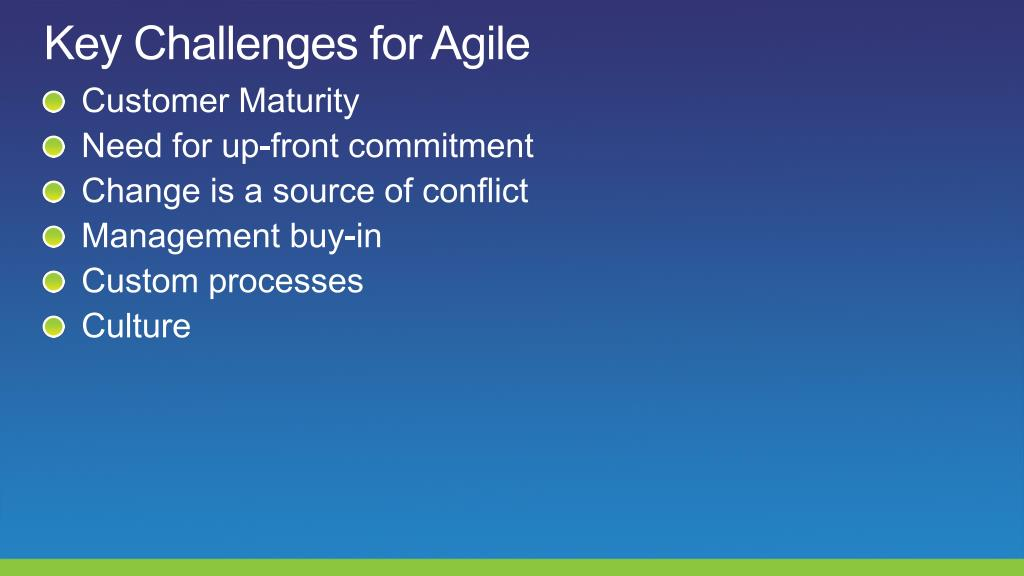 Key Challenges for Agile