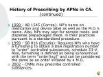 history of prescribing by apns in ca continued10