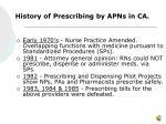 history of prescribing by apns in ca