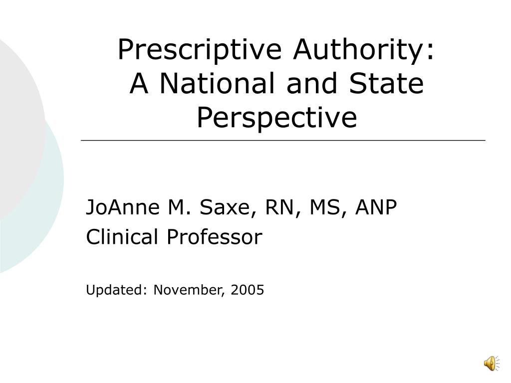 prescriptive authority a national and state perspective l.