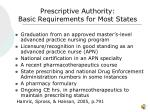 prescriptive authority basic requirements for most states