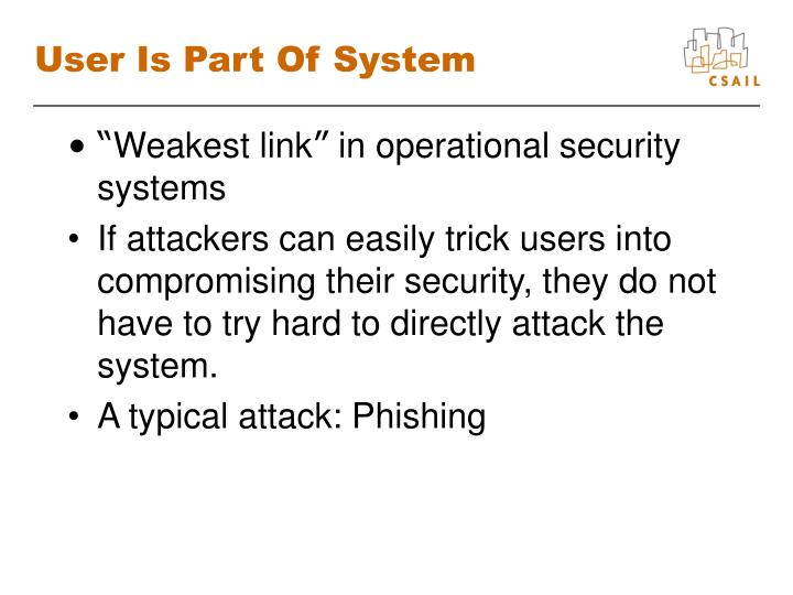 User is part of system