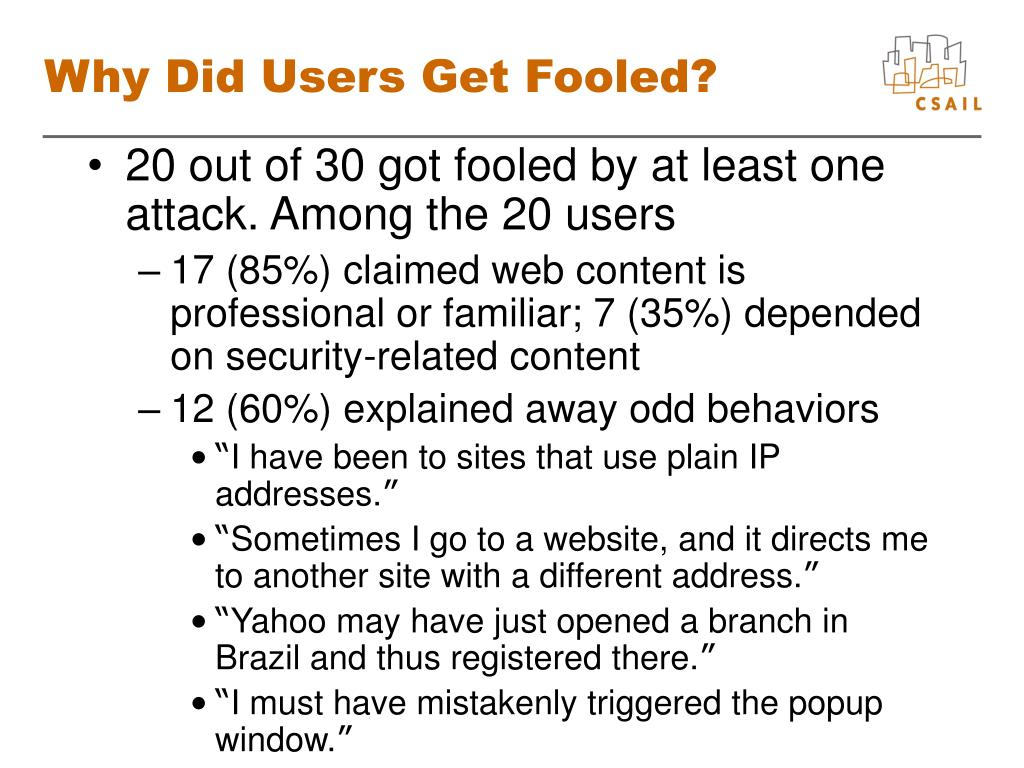 Why Did Users Get Fooled?