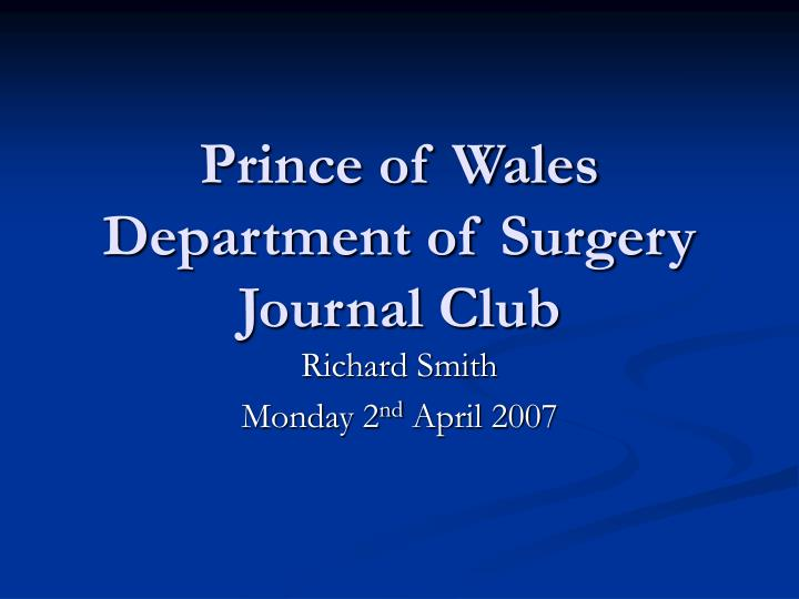 prince of wales department of surgery journal club n.