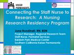connecting the staff nurse to research a nursing research residency program