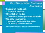 key discoveries tools and journaling