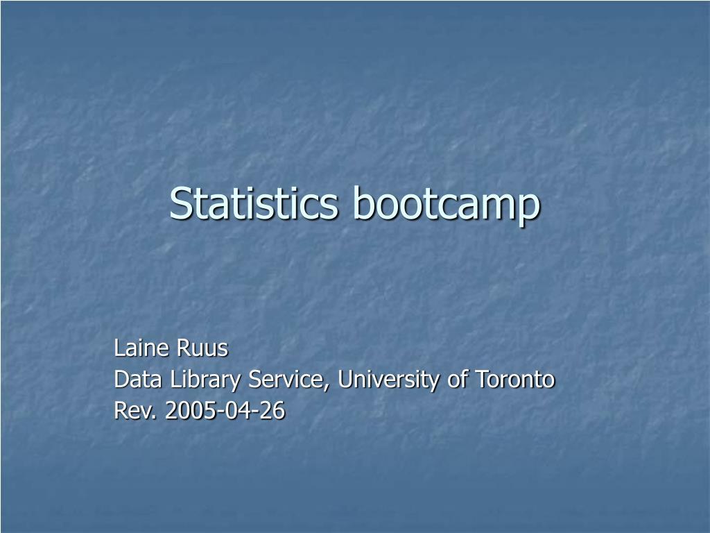 statistics bootcamp l.