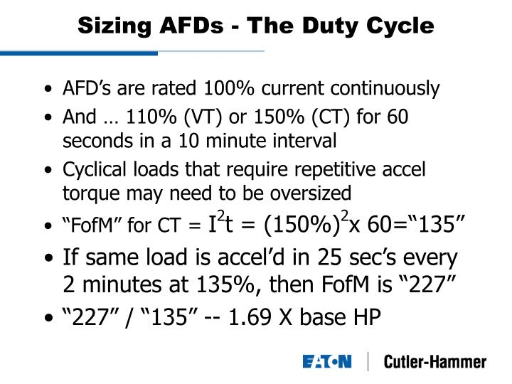 Sizing AFDs - The Duty Cycle