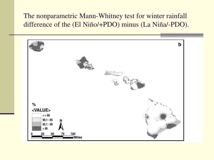 The nonparametric Mann-Whitney test for winter rainfall difference of the (El Ni