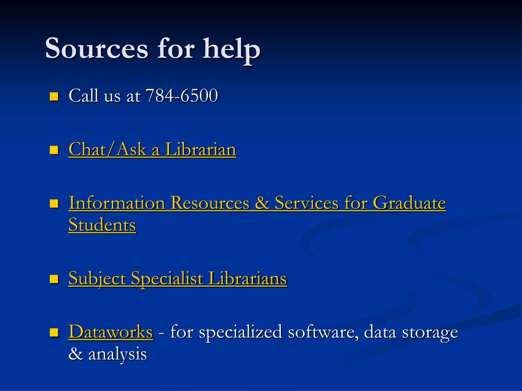 Sources for help
