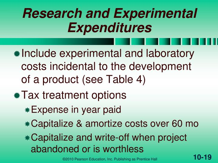 Research and Experimental Expenditures
