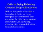 odds on dying following common surgical procedures