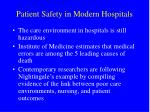patient safety in modern hospitals