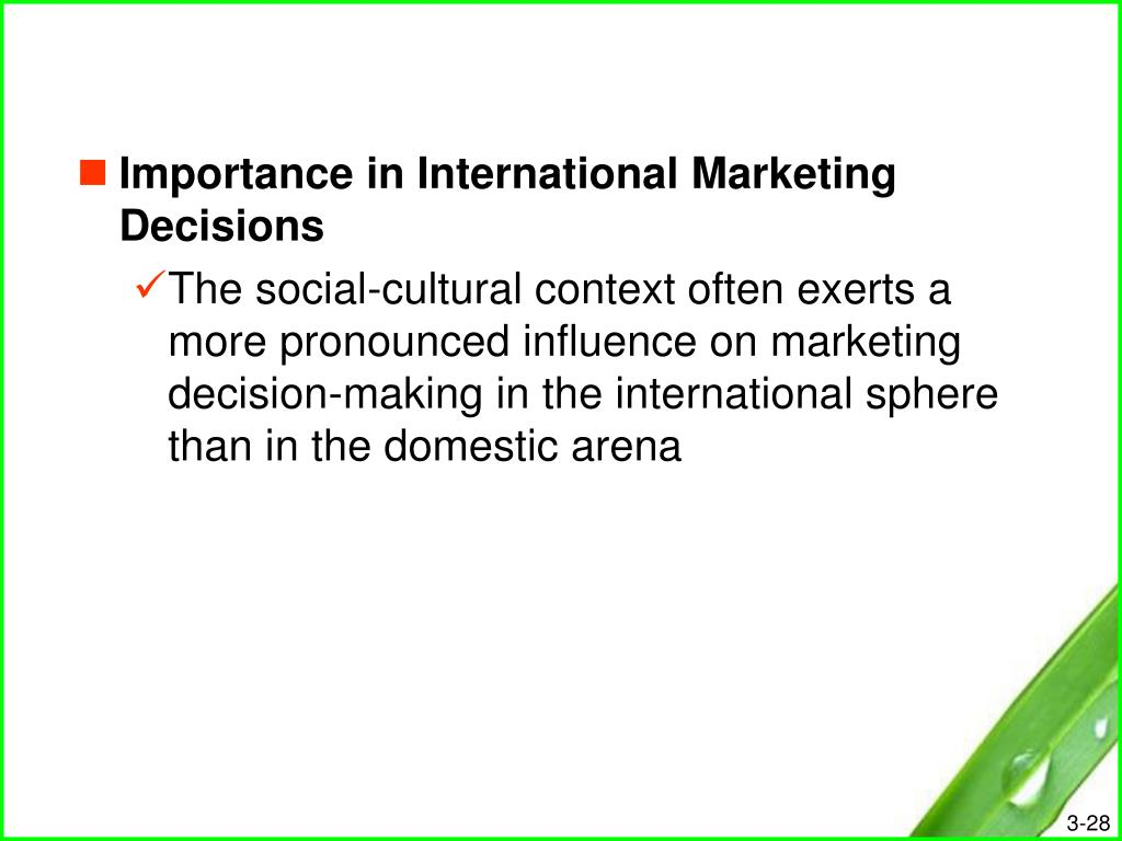 Importance in International Marketing Decisions