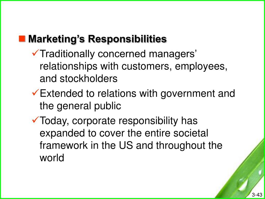 Marketing's Responsibilities