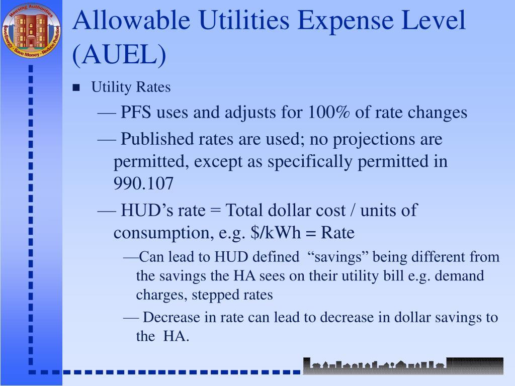 Allowable Utilities Expense Level (AUEL)