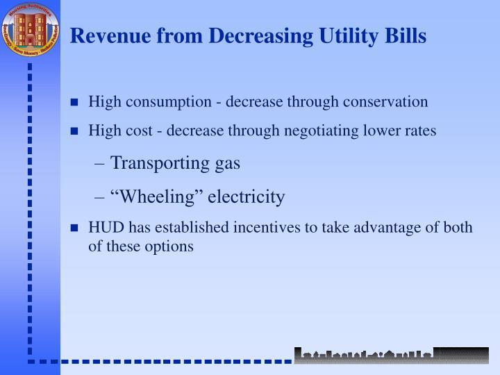 Revenue from decreasing utility bills3