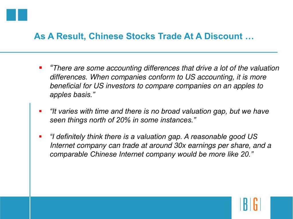 As A Result, Chinese Stocks Trade At A Discount …