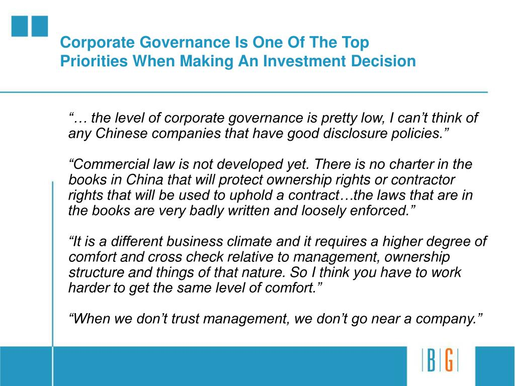 Corporate Governance Is One Of The Top Priorities When Making An Investment Decision