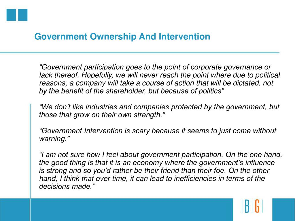 Government Ownership And Intervention