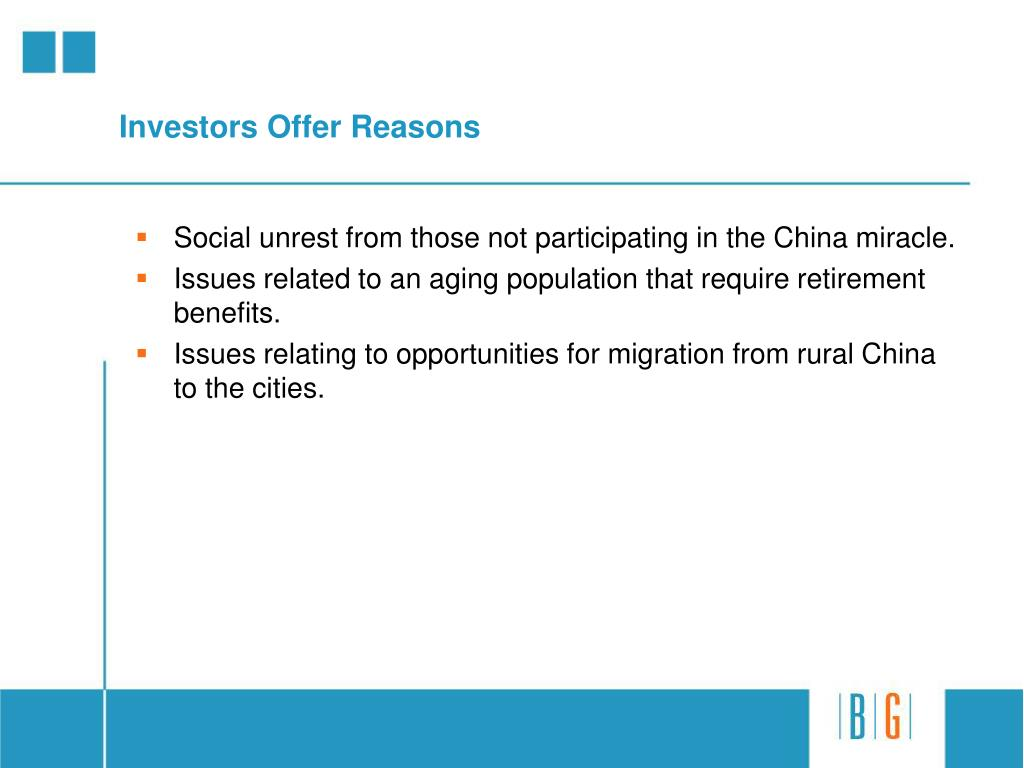 Investors Offer Reasons