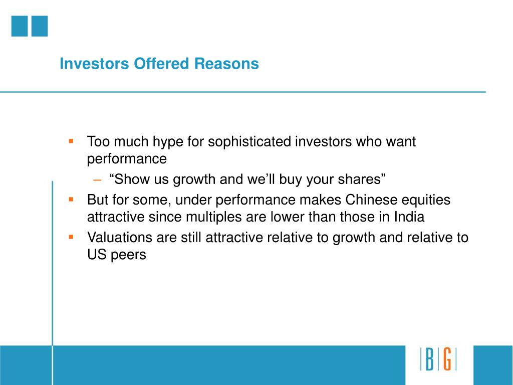 Investors Offered Reasons