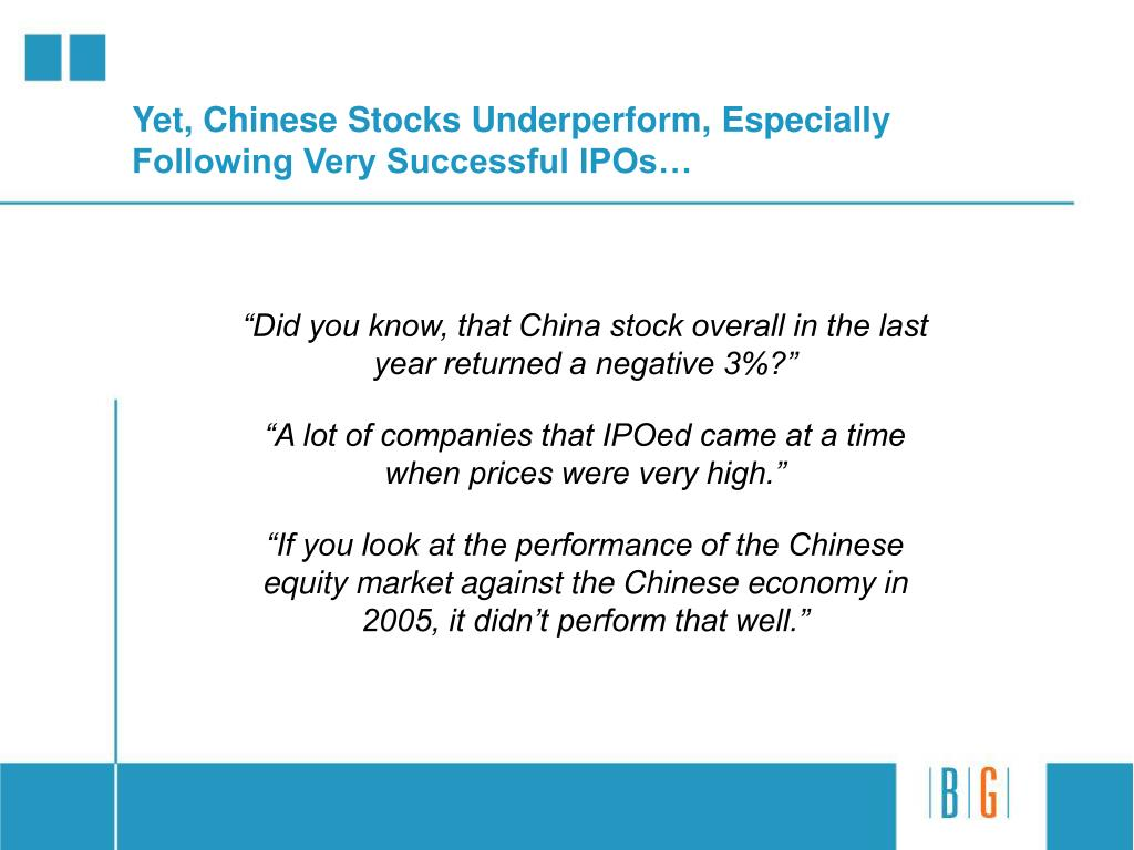 Yet, Chinese Stocks Underperform, Especially Following Very Successful IPOs…