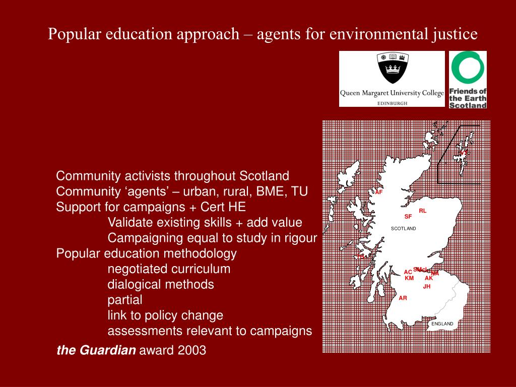 Popular education approach – agents for environmental justice