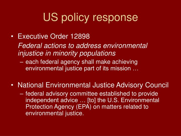 Us policy response