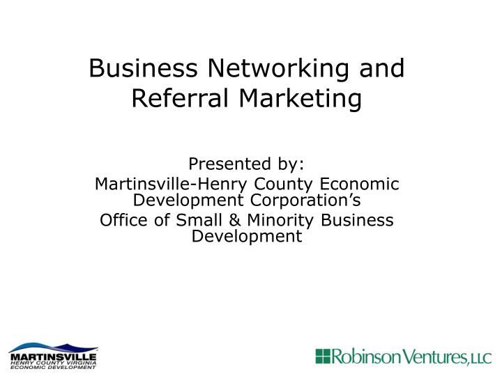 business networking and referral marketing n.