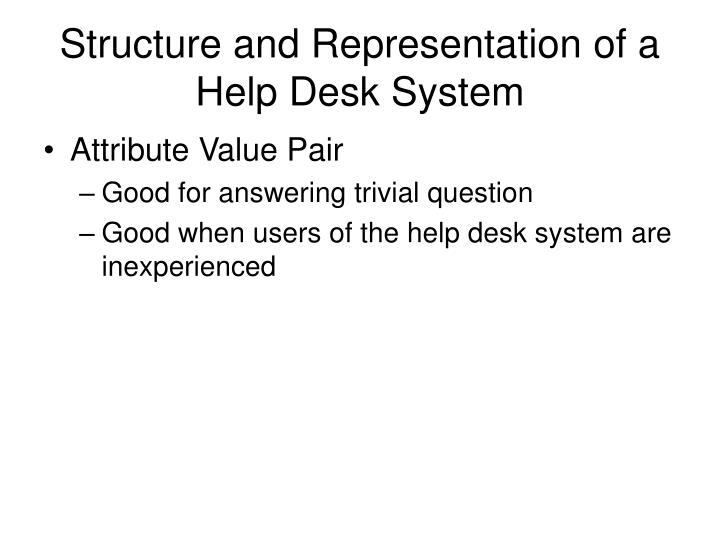 Structure and Representation of a Help Desk System