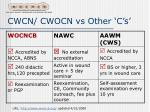 cwcn cwocn vs other c s