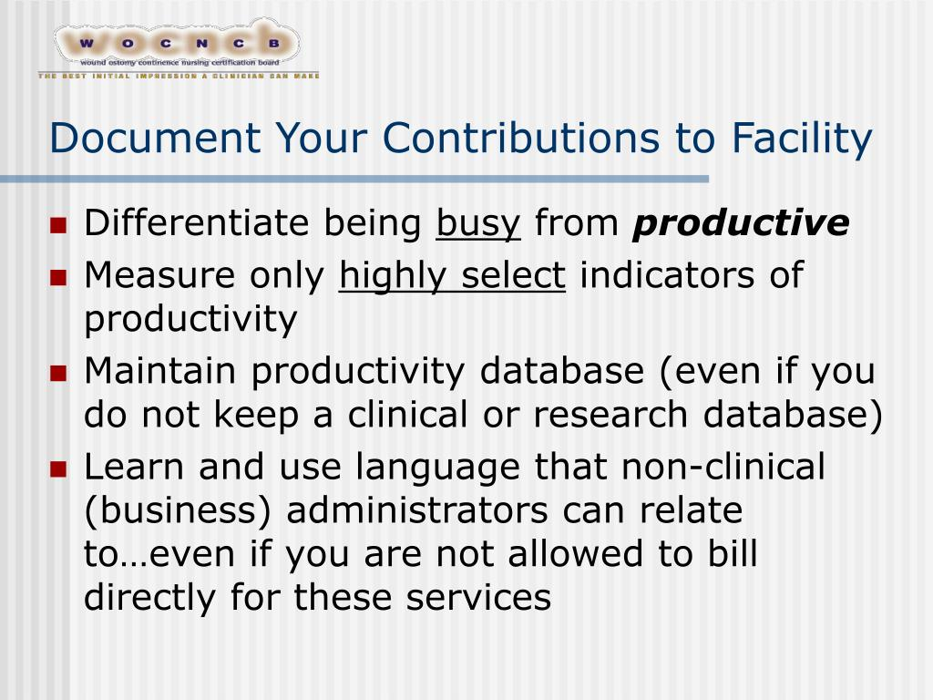 Document Your Contributions to Facility