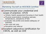 marketing yourself as wocncb certified24