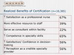 realized benefits of certification n 18 385