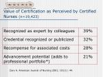 value of certification as perceived by certified nurses n 19 423