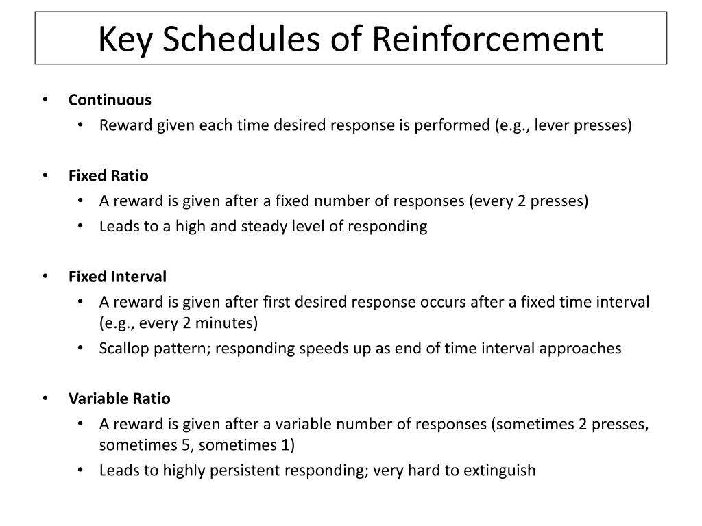 Key Schedules of Reinforcement