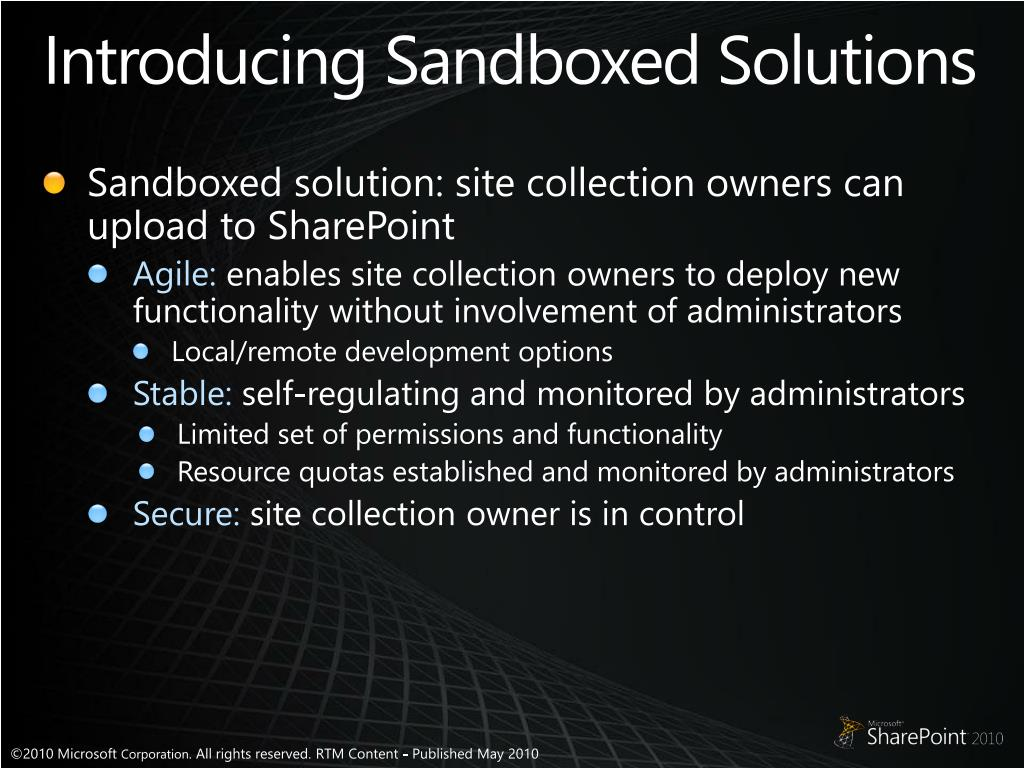 Introducing Sandboxed Solutions