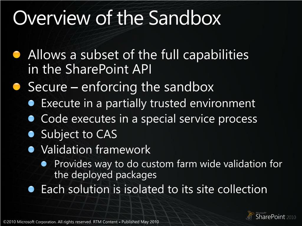 Overview of the Sandbox