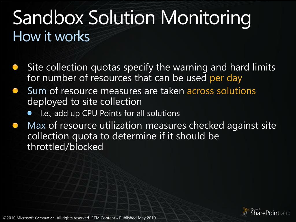 Sandbox Solution Monitoring