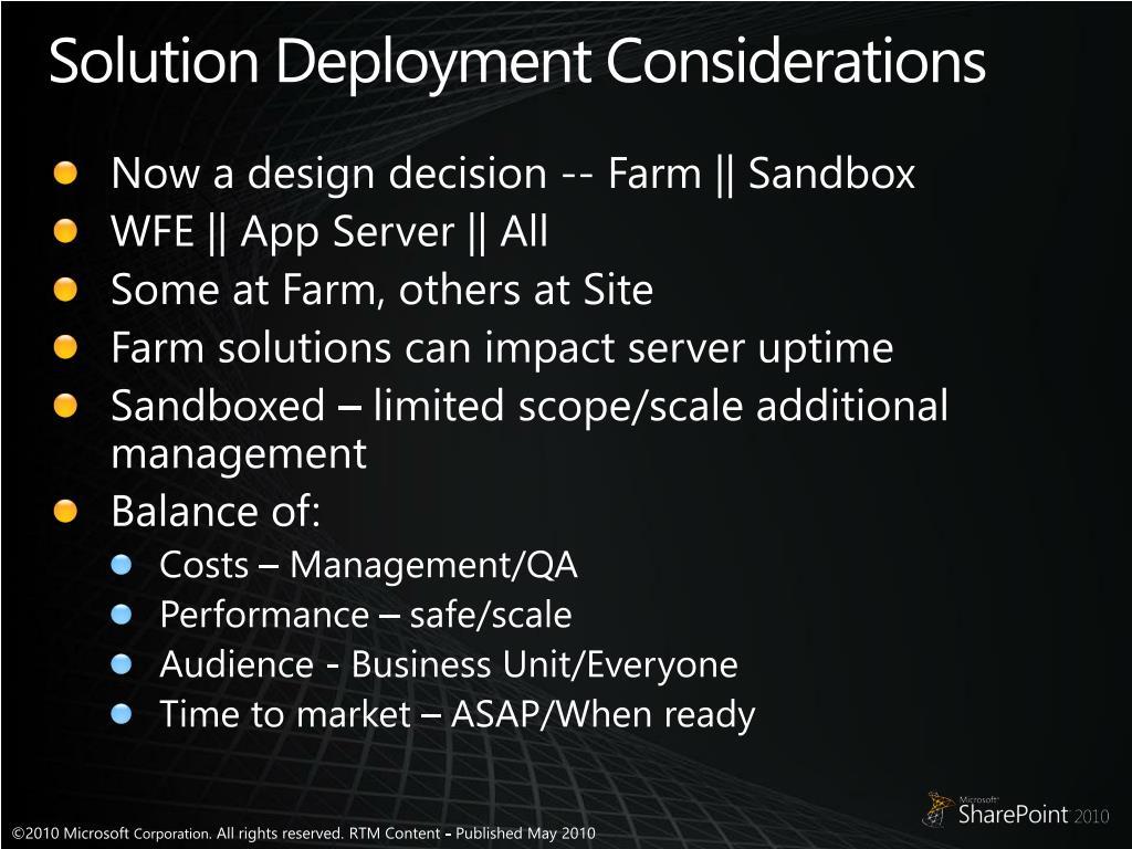 Solution Deployment Considerations