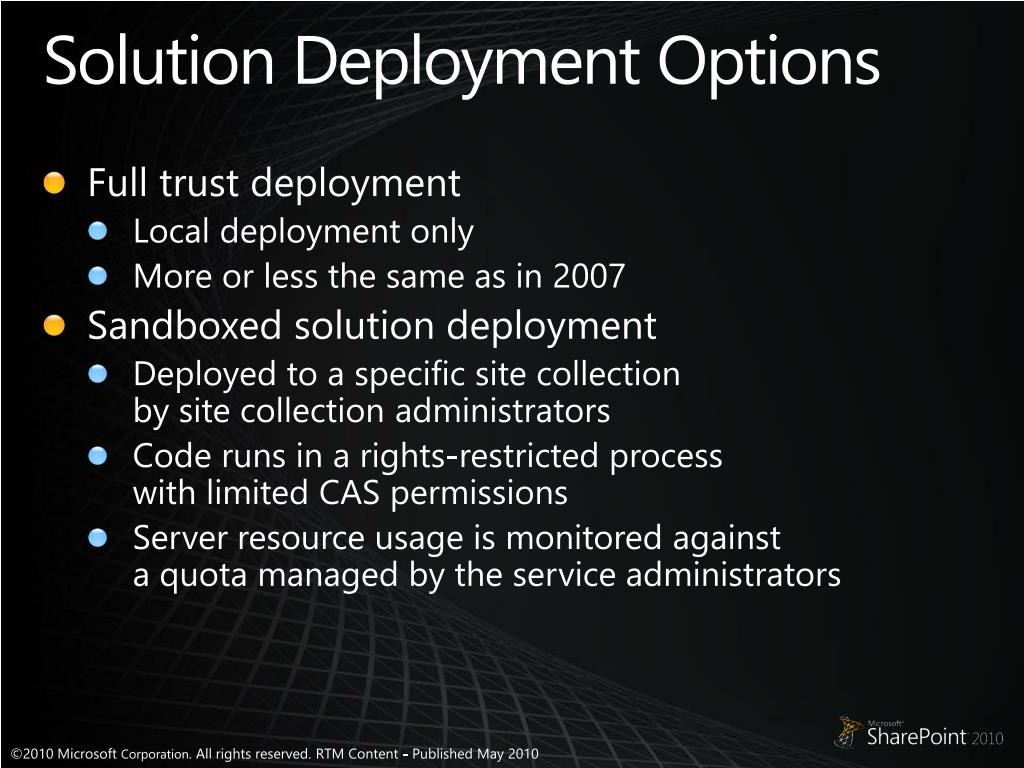 Solution Deployment Options