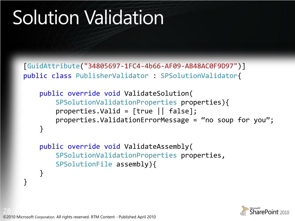 Solution Validation