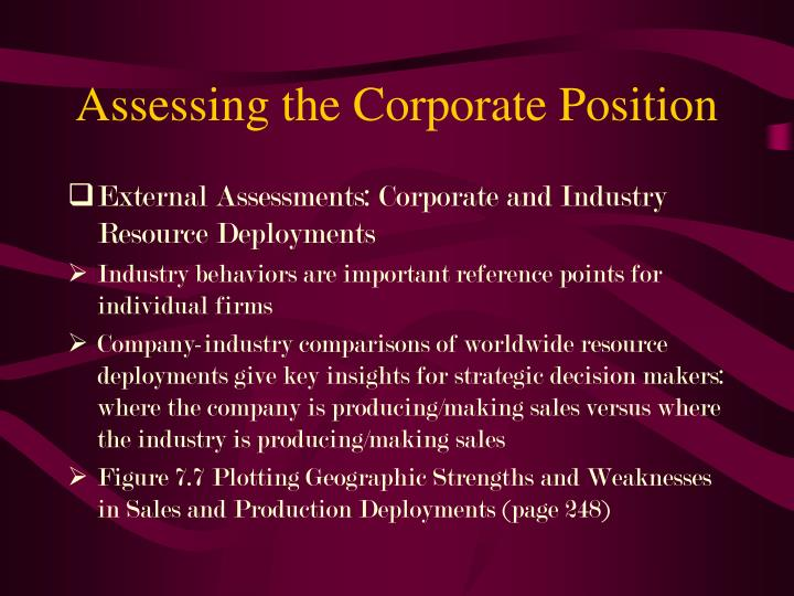Assessing the Corporate Position
