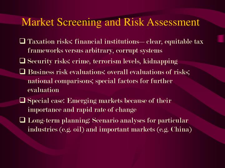 Market Screening and Risk Assessment